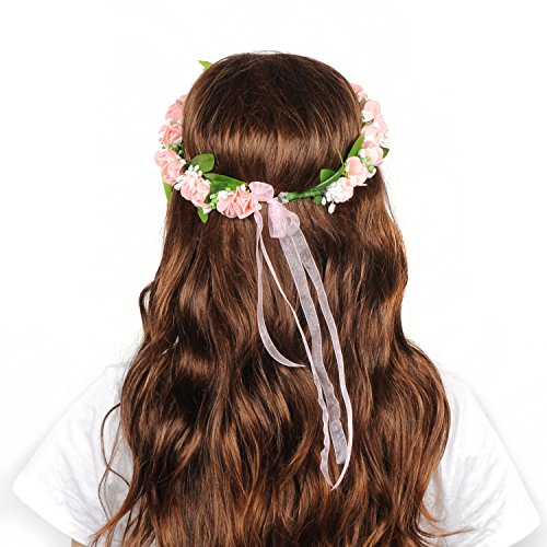 [Bienna Flower Wreath Headband Headpiece Crown Garland Halo with Adjustable Ribbon and Floral Wrist Band for Women Girls Kids Costume Wedding] (Matching Costumes For Mom And Baby)