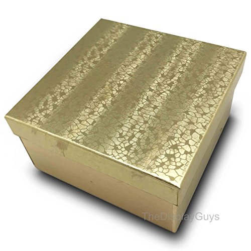 The Display Guys~ Pack of 100 Cotton Filled Cardboard Paper Gold Jewelry Box Gift Case -Gold Foil (3 3/4x3 3/4x2 inches ()
