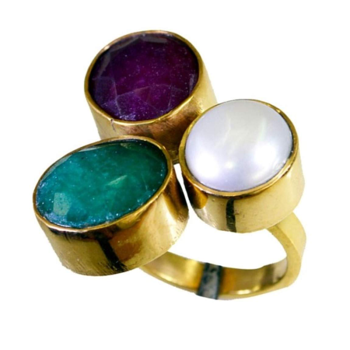 Jewelryonclick Real Multi Stone Gold Plated Wedding Rings for Her with Green White Red Stone Size 4-12