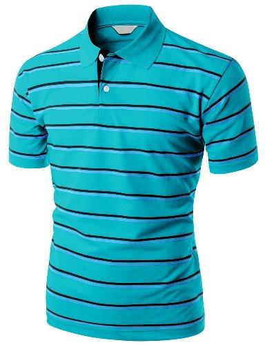 Men's 180-200 TC Silket Striped Polo Dri Fit Collar T-Shirt BLUE L