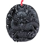Dragon and Phoenix Obsidian Black Reflief Carved Chinese Pendant