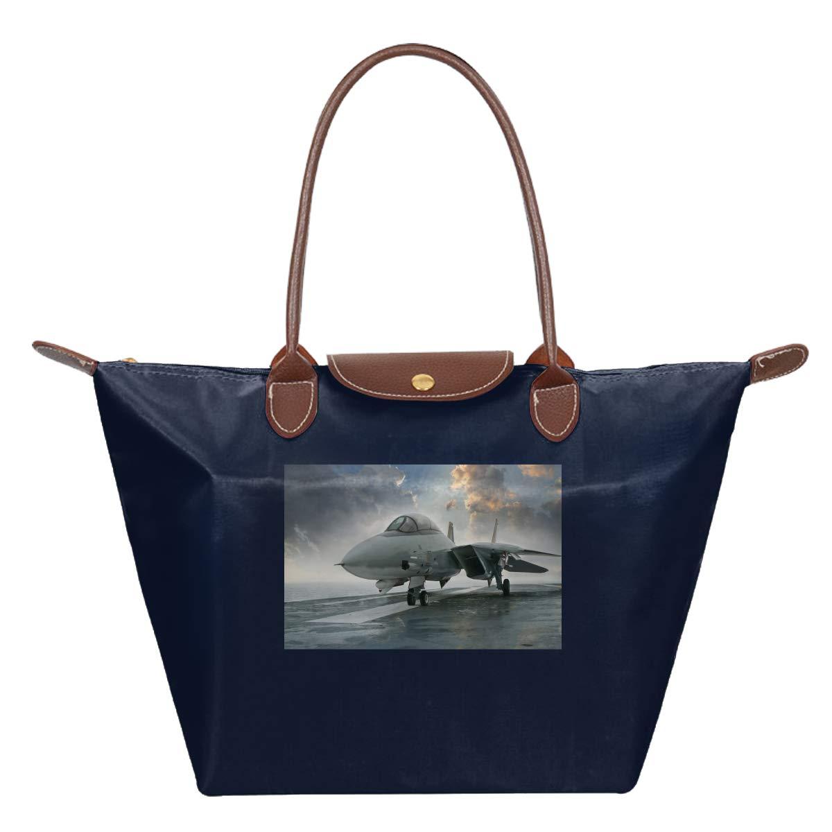 F-14 F14 Tomcat Jet Fighter Aircraft Plane Gift Waterproof Leather Folded Messenger Nylon Bag Travel Tote Hopping Folding School Handbags