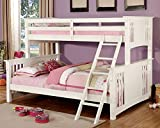 1PerfectChoice Spring Creek Mission Style Twin XL over Queen Bunk Bed Ladder Solid Wood White