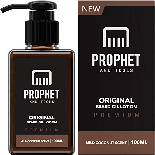NEW Beard Oil Lotion for Thicker Facial Hair Grooming | 100ML - The All-In-1 Conditioner and Shampoo-like Softener, Shine and Fuller Beards/Mustache Growth - NUTS-FREE & VEGAN! Prophet and Tools