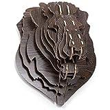 Tête de Lion Trophée Chasse Bois Luxe Rare Art Déco Loft Marron Foncé