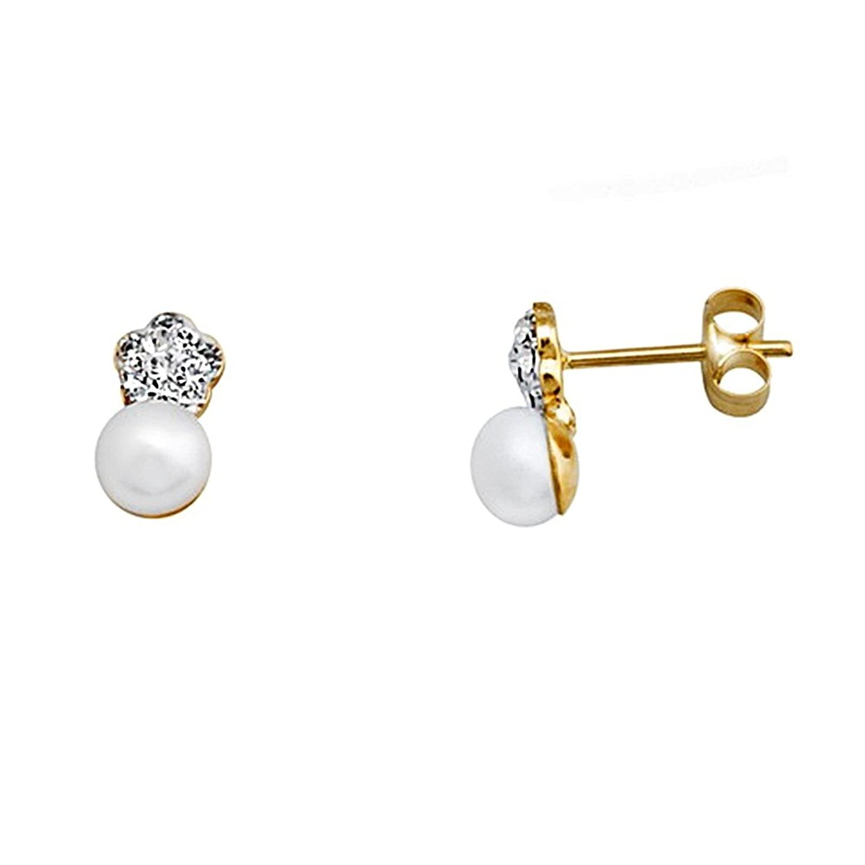 Pendientes oro 18k perla 5mm. cultivada flor circonitas [AA5248]