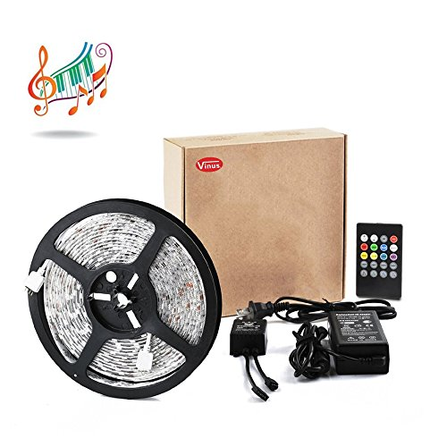 Vinus Waterproof 5050 300-LEDs Manageable Color Changing Strip Kit with IR Controller and 12 V 5A Power Adapter, 16.4-Feet, RGB  with Music Sense - 20 Key