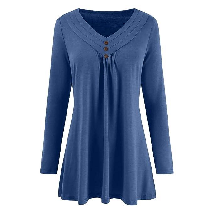 Yvelands Blusas para Mujer Tallas Grandes, Mujeres Sueltas otoño Vestido botón Cuello en V Camisa