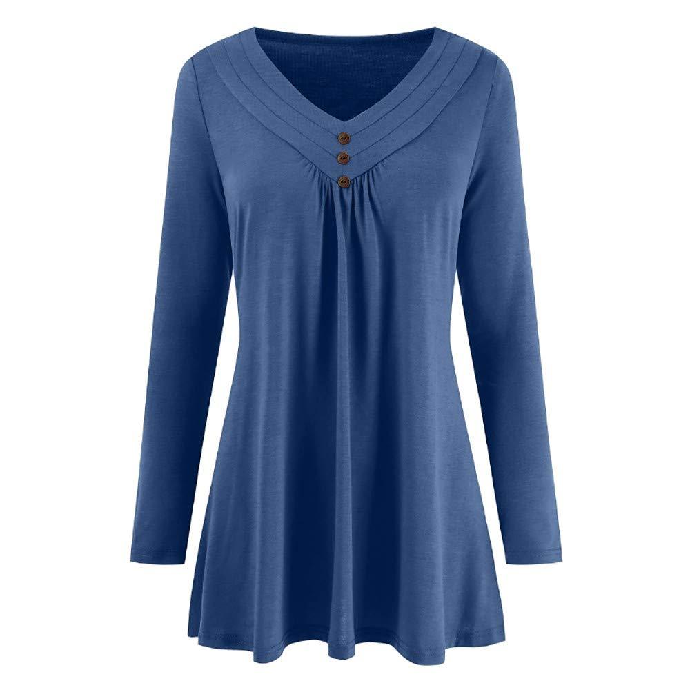 iLUGU Women Autumn Solid Long Sleeve Top Loose T Shirt for Men Cami Button V Neck Blouse Shirts Vest Blue