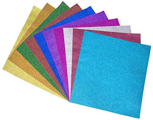 Aspicio Products Glitter Paper Sheets Self-Adhesive 10 assorted colors Rainbow Sparkle, 12 L x 12 W, Silver/Gold/Pink/Purple/Aqua/Blue/Green/Yellow/Orange/Brown, (20)