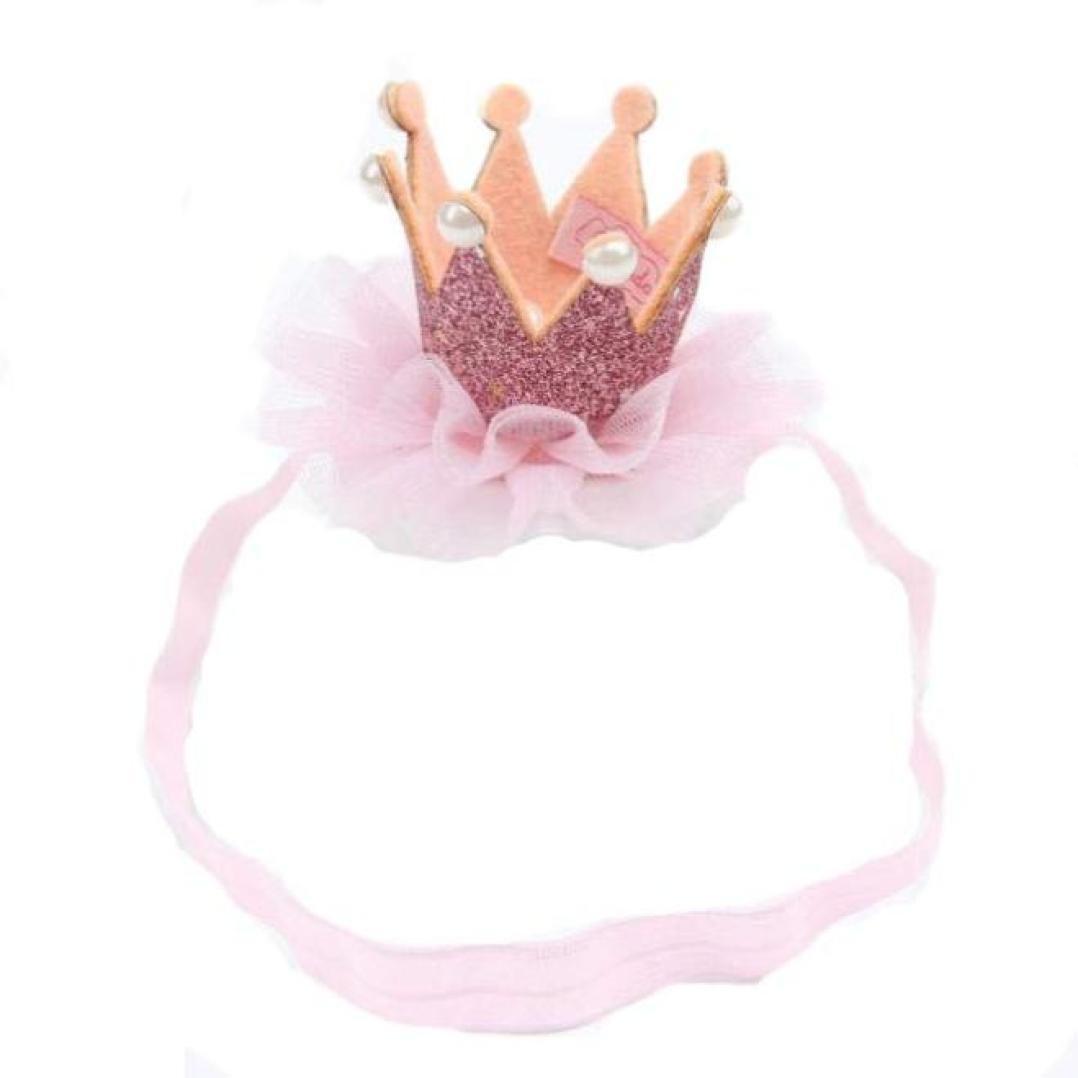 Amison diadema del beb/é Banda para el cabello sombrero corona el/ástica de cumplea/ños headwear rosa