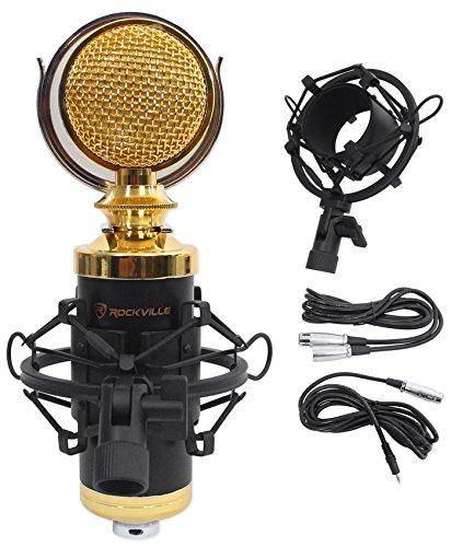 Rockville RCM02 Pro Studio Recording Condenser Microphone Mic+Metal Shock Mount Gold Diaphragm Studio Condenser Microphone