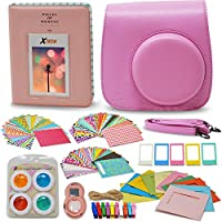 Xtech FujiFilm Instax Mini 9/8 PINK Accessories Kit with Pink Camera Case with Strap + Photo Album + Colorful Frames + Sticker Frames + Large Selfie Mirror + 4 Colorful Filters + String + MORE