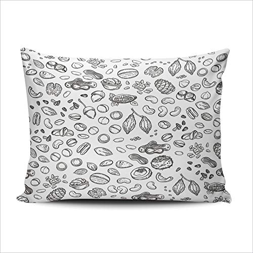 ONGING Decorative Pillowcases Nuts Customizable Cushion Queen Size 20x30 Inch Throw Pillow Cover Case Hidden Zipper One Sided Design - Bed Pecan Size Queen