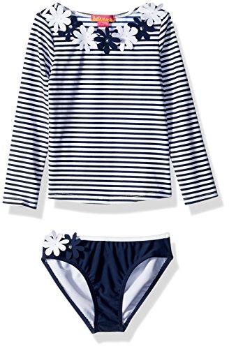Kate Mack Little Girls' Daisy Crew Rashguard and Bikini, Navy/White, 6 - Kate Mack Daisy