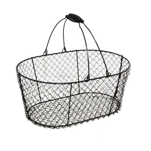 The Lucky Clover Trading Oblong Wire Basket with Swing Handle, Black
