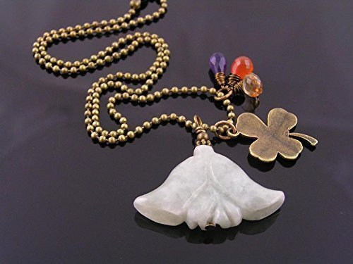 Carved Emerald Flower Necklace with Carnelian, Amethyst,Mystic Quartz and Clover Charm
