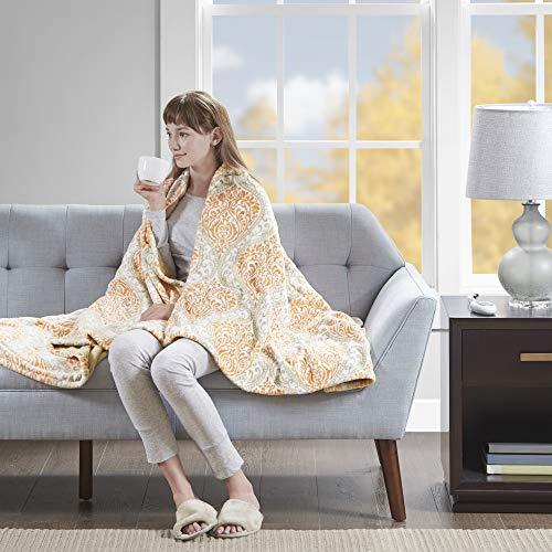 Beautyrest Senna Elect Blanket Heated Print Plush Throw, 60 x 70, ()
