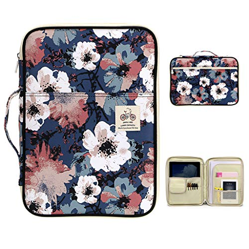 BTSKY New Multi-Functional A4 Document Bags Portfolio Organizer-Waterproof Travel Pouch Zippered Case for Ipads, Notebooks, Pens, Documents Red Flower