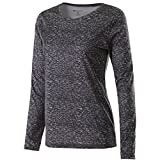 Holloway Ladies Space Dye Long Sleeve Semi Fitted Dry-Excel Shirt (X-Small, Black)
