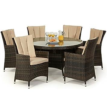 San Diego ratán muebles de jardín marrón 6 plazas juego de mesa ...