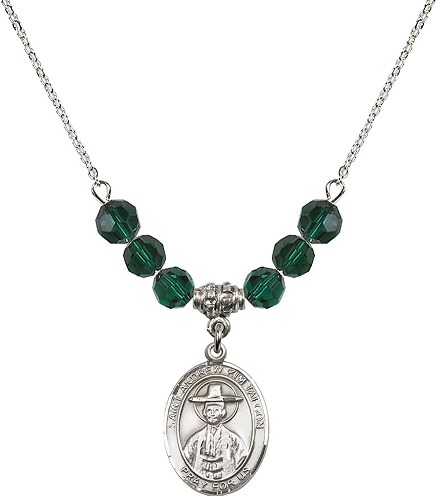 18-Inch Rhodium Plated Necklace with 6mm Emerald Birthstone Beads and Sterling Silver Saint Andrew Kim Taegon Charm.