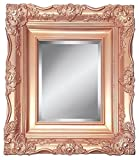 4'' Rose Gold Ornate Baroque French Style Framed Beveled Wall Mirror (24x36 Inch)