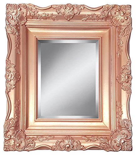 4'' Rose Gold Ornate Baroque French Style Framed Beveled Wall Mirror (24x36 Inch) by ImpactInt