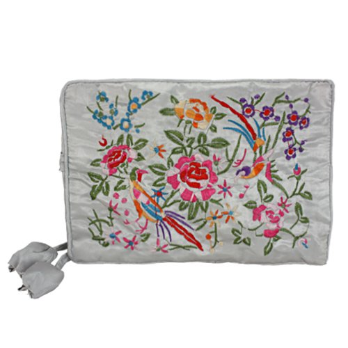 Silky Embroidered Brocade Travel Jewelry Organizer Roll Pouch - Gray