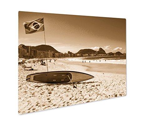 Ashley Giclee Brazilian Flag And Surfboard At Copacabana Beach In Rio De Janeiro Brazil, Wall Art Photo Print On Metal Panel, Sepia, 8x10, Floating Frame, AG5984083