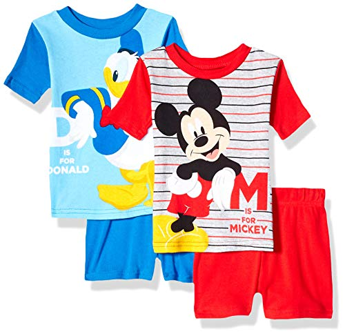 Disney Boys' Toddler Mickey Mouse and Donald Duck 4-Piece Cotton Pajama Set, Classic Blue, 4T