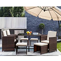 Garden and Outdoor GUNJI 9 Pieces Patio Dining Sets Outdoor Furniture Outdoor Space Saving Rattan Chairs with Glass Table Patio Furniture… patio dining sets