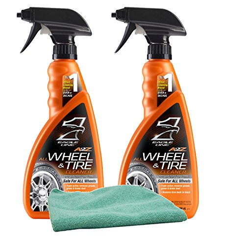Eagle One A2Z All Wheel & Tire Cleaner (23 oz) Bundle with Microfiber Cloth (3 Items)