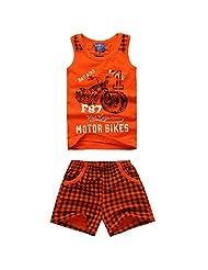 XiaoYouYu Little Boy's Motorcycle Soft Cotton Tank Tops Plaid Shorts Sets 2PCS