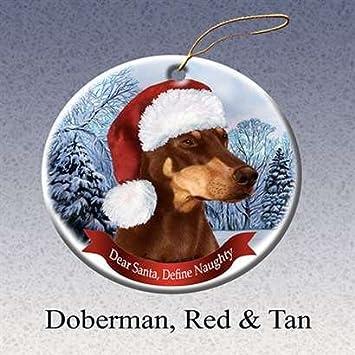 amazon com red doberman dobie dog santa hat christmas ornament