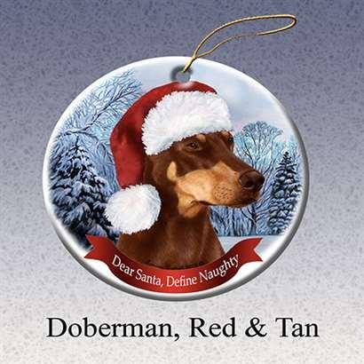 Red Doberman Dobie Dog Santa Hat Christmas Ornament Porcelain China U.s.a. Gift ()