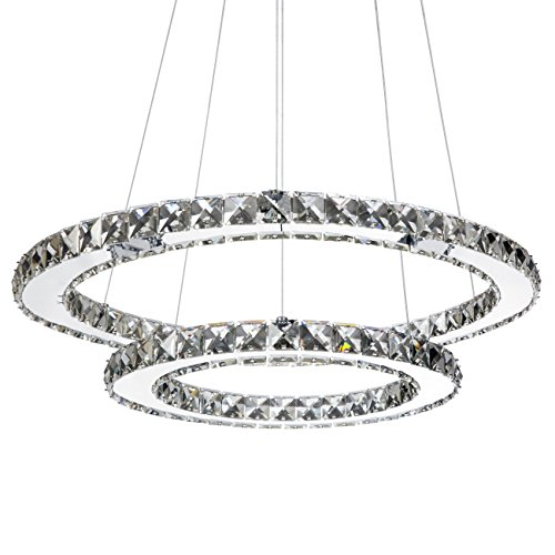 Cheap Best Choice Products 2-Ring Crystal Eclipse Modern LED Pendant Chandelier Dining Room Ceiling Light Fixture – Silver