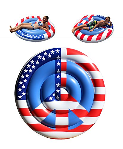 TheGag Peace Sign Pool Float American USA Flag for Memorial Day 4th of July Summer Fun Red White Blue Colors Patriotic Inflatable Swimming Pool -