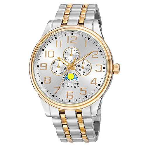 August Steiner Men's AS8174TTG Silver and Yellow Gold Multifunction Quartz Watch with Moon phase Indicator on Silver Dial and Two Tone Bracelet