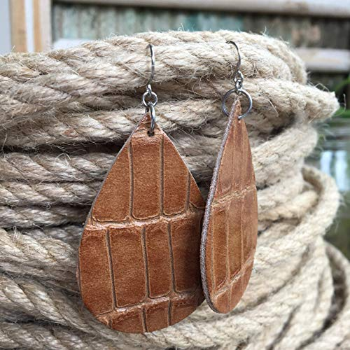 Teardrop Leather Earrings for Women Embossed Brown Croc Print 2.25 inch