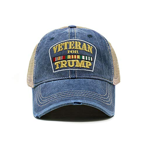(ChoKoLids Veterans for Trump Dad Hat | Cotton Baseball Cap | Snapback Flat Visor | 7 Colors (Distressed Trucker Navy))