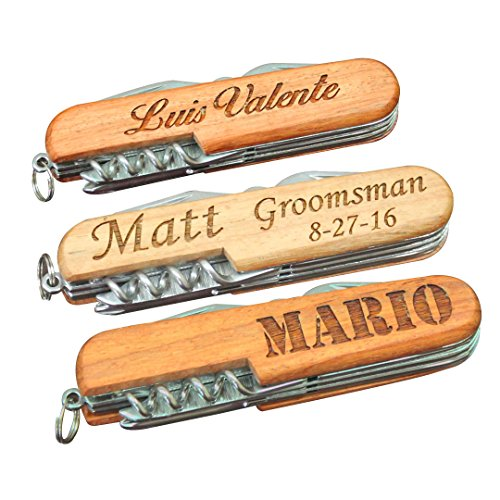 Engraved Wood Multitool - Fathers Day Groomsmen Gift - Custom Personalized for Free