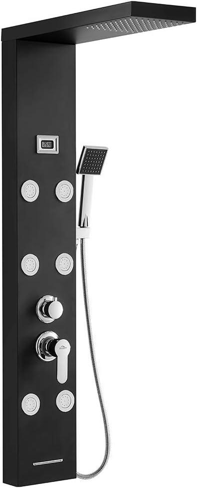 Auralum - Columna de Hidromasaje Ducha Negro 4 Función con Pantalla LCD Columna Ducha Acero Inoxidable para Baño con 6 Boquillas de Masaje