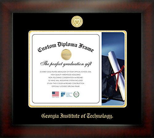 Celebration Frames Georgia Institute of Technology 14 x 17 Mahogany Finish Infinity Diploma Frame (Georgia Tech Diploma Frame)