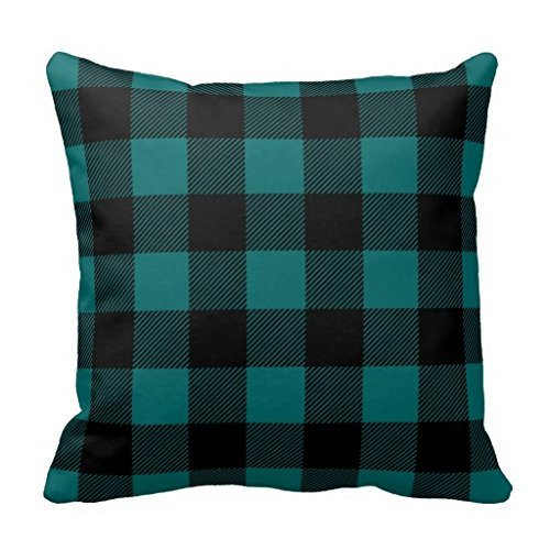 Black And Teal Preppy Buffalo Check Plaid Throw Pillow - Uk Preppy