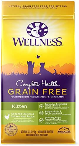 Wellness Complete Health Natural Grain Free Dry Cat Food, Kitten Health Deboned Chicken Chicken Meal Recipe, 5.5-Pound Bag