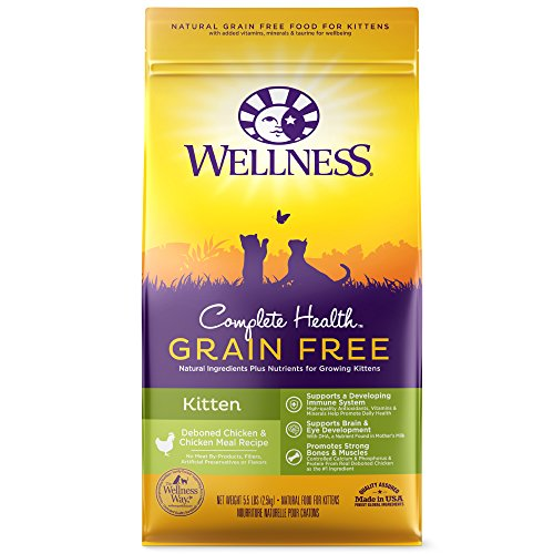Wellness Complete Health Natural Grain Free Dry Cat Food, Kitten Health Deboned Chicken & Chicken Meal Recipe, 5.5-Pound Bag