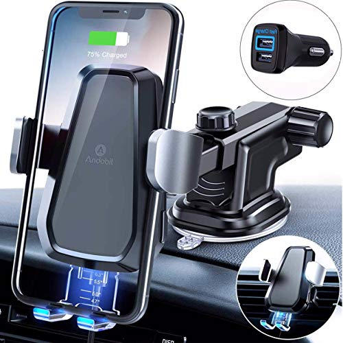 Andobil Fast Wireless Car Charger Mount Kit, One Touch Automatic Clamping Qi Cell Phone 10W Power Charging Air Vent Dashboard Holder Compatible iPhone X/Xs Max/XR/8/8+, Samsung S10/S10+/S9/S9+/S8/S8+