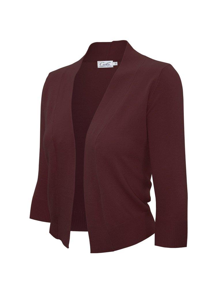 Women's Knit Cropped Sweater Bolero Cardigan Three Quarter Sleeve - Full Sleeve (Large, SW620 Burgundy)