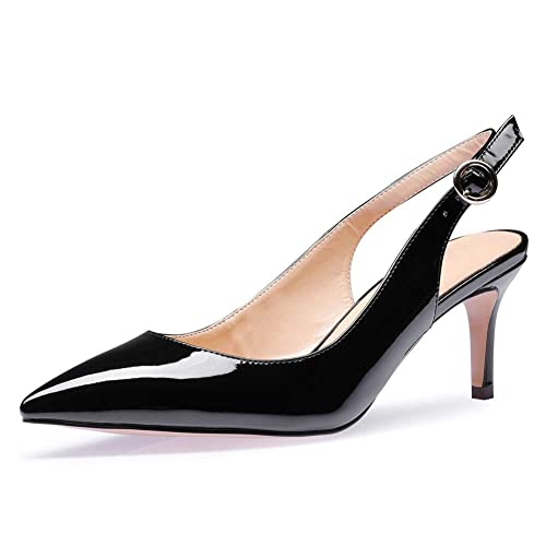 19734b64f0b UMEXI Women Slingback Kitten Heel Pumps Low Heel Patent Leather Dress Shoes  for Wedding Party Black